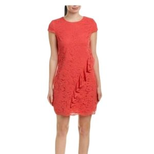 Vince Camuto Size 12 Lace Ruffle Dress Coral